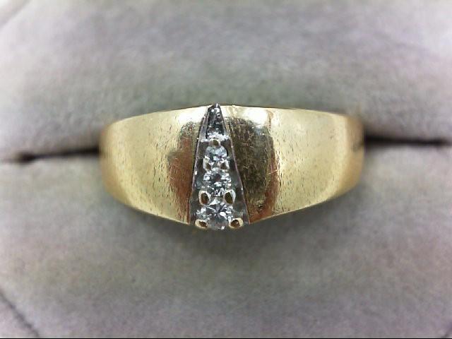 Gent's Gold-Diamond Wedding Band 3 Diamonds 0.13 Carat T.W. 14K Yellow Gold 6.8g