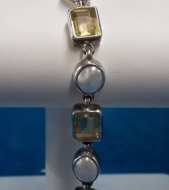 Synthetic Citrine Silver-Stone Bracelet 925 Silver 18.7dwt