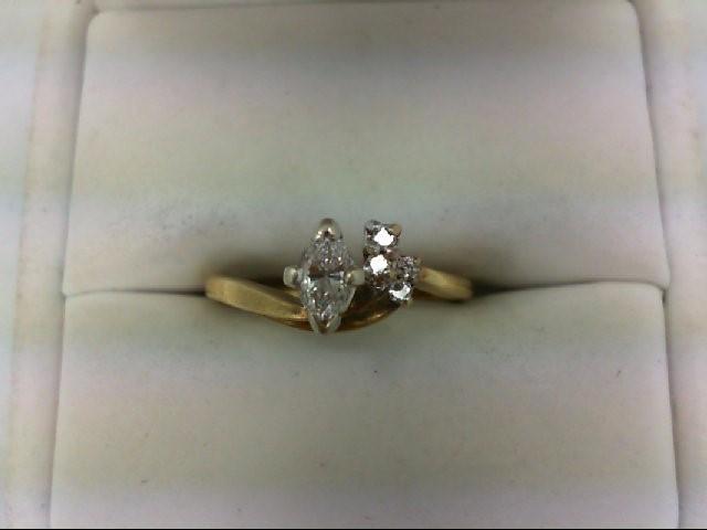 Lady's Diamond Engagement Ring 5 Diamonds 0.38 Carat T.W. 14K Yellow Gold 3.2g S