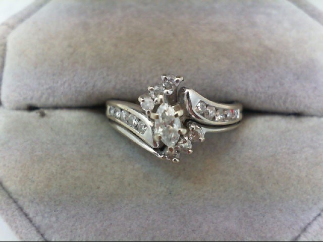 Lady's Diamond Wedding Set 17 Diamonds 0.73 Carat T.W. 14K White Gold 4.8g