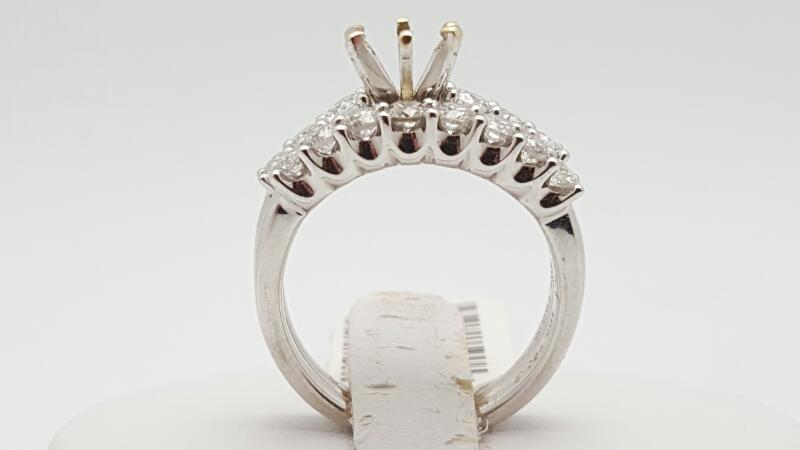 Lady's Diamond Wedding Set 10 Diamonds 1.00 Carat T.W. 18K White Gold 8.1g