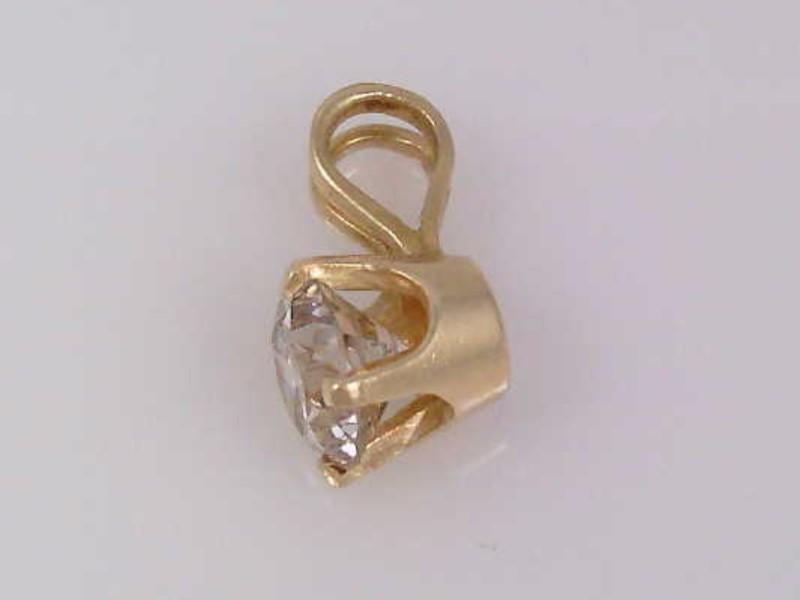 Estate Fine Diamond Solitaire Pendant Cham 0.50 CTW 14K Yellow Gold