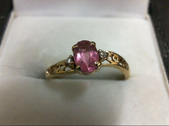 Synthetic Pink Stone Lady's Stone & Diamond Ring 2 Diamonds 0.02 Carat T.W. 10K