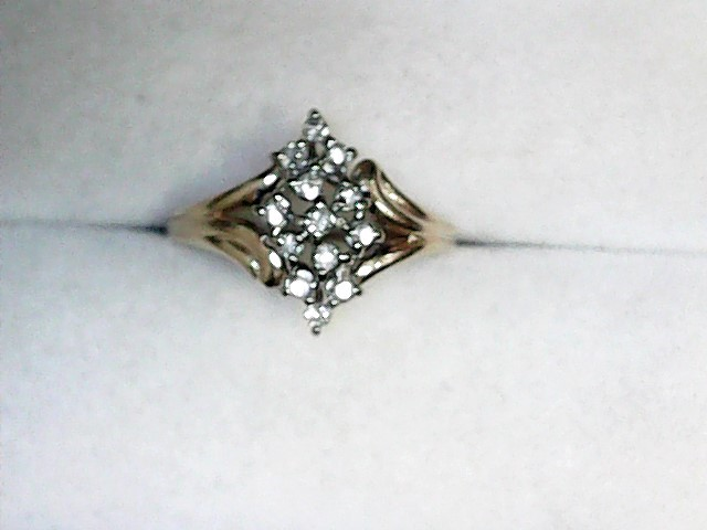 Lady's Diamond Cluster Ring 13 Diamonds .26 Carat T.W. 14K Yellow Gold 2dwt