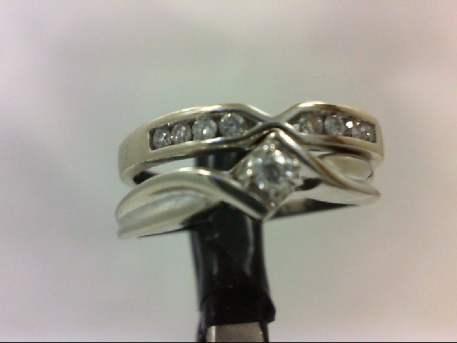 Lady's Diamond Wedding Set 9 Diamonds 0.19 Carat T.W. 10K White Gold 4.2g