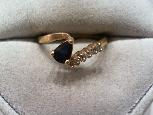 Sapphire Lady's Stone & Diamond Ring 5 Diamonds .10 Carat T.W. 10K Yellow Gold