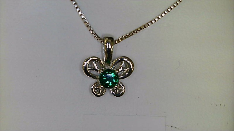 NEW SS BUTTERFLY MAY BIRTHSTONE PENDANT