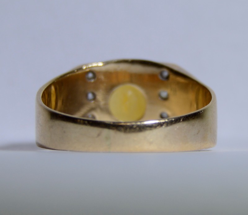 Men's 14K Yellow Gold Wide Set Oval Citrine Ring Size: 10