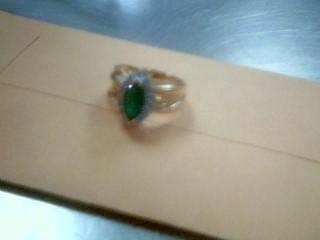 Synthetic Emerald Lady's Stone & Diamond Ring 16 Diamonds .32 Carat T.W.