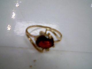 Almandite Garnet Lady's Stone Ring 10K Yellow Gold 1.4g