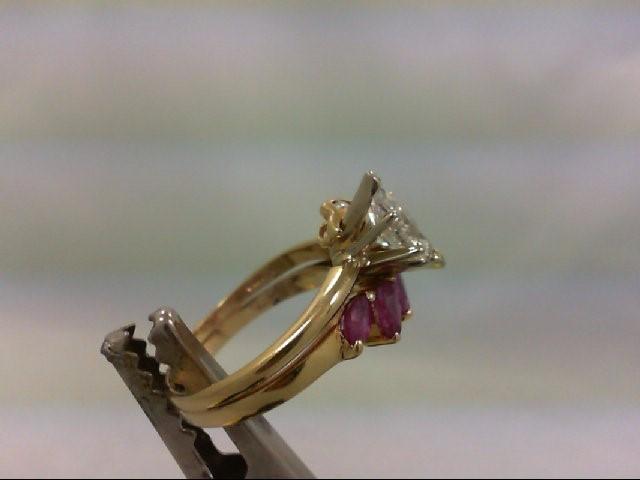 Ruby Lady's Stone & Diamond Ring 7 Diamonds .76 Carat T.W. 14K Yellow Gold