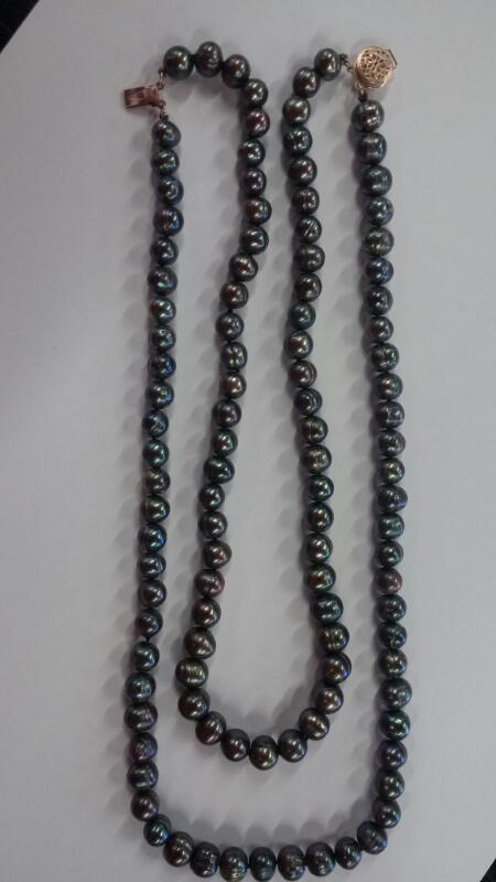"""32"""" tahitian Pearl Necklace 14K Gold 39.3dwt"""