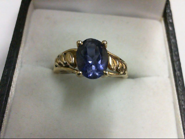 Synthetic Purple Stone Lady's Stone Ring 10K Yellow Gold 2.5g