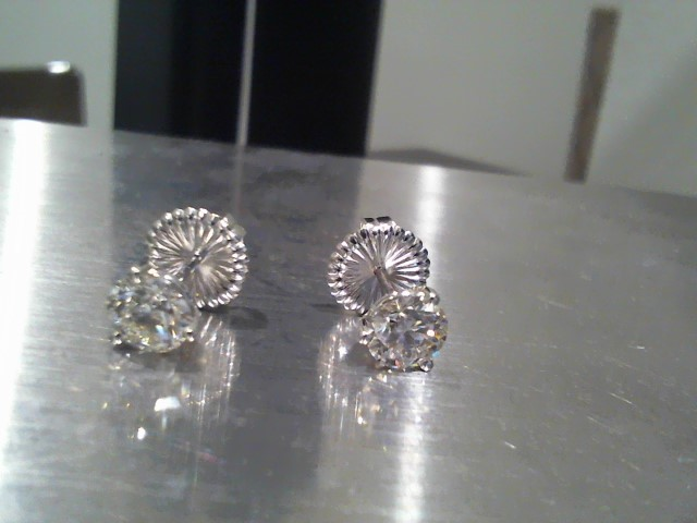 Gold-Diamond Earrings 2 Diamonds 1.98 Carat T.W. 18K White Gold 2.6g