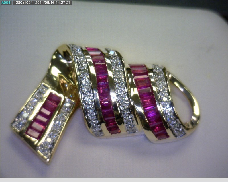 "17"" Ruby Diamond & Stone Necklace 48 Diamonds .48 Carat T.W. 14K White Gold"