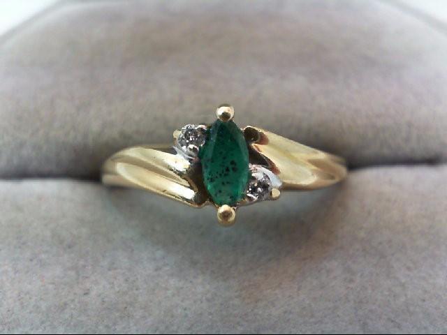 Emerald Lady's Stone & Diamond Ring 2 Diamonds .04 Carat T.W. 14K Yellow Gold