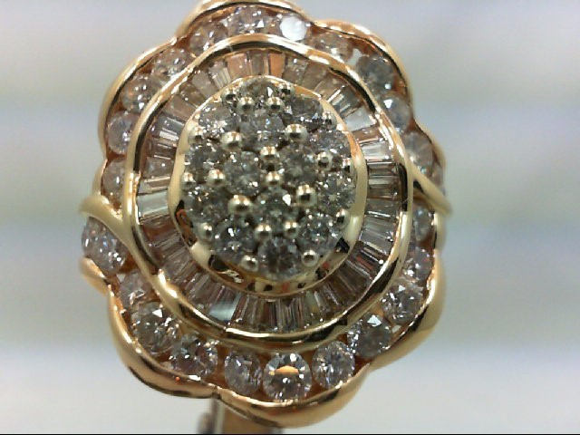 Lady's Diamond Cluster Ring 30 Diamonds 3.00 Carat T.W. 14K Yellow Gold 13.9g