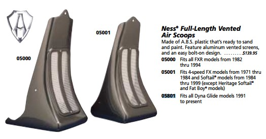 CUSTOM CHROME 05801; NESS VENT AIR SCOOP FXD 91-UP