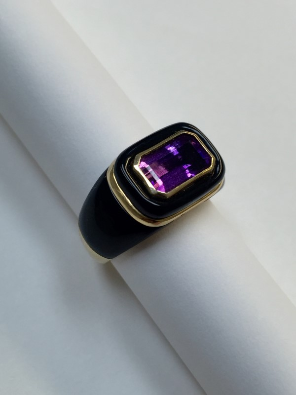 Amethyst Gent's Stone Ring 14K Yellow Gold 6.1dwt Size:6.5