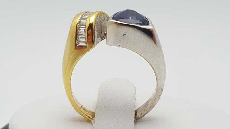 Lady's Tanzanite & Diamond Ring 9 Diamonds .36 Carat T.W. 18K 2 Tone Gold