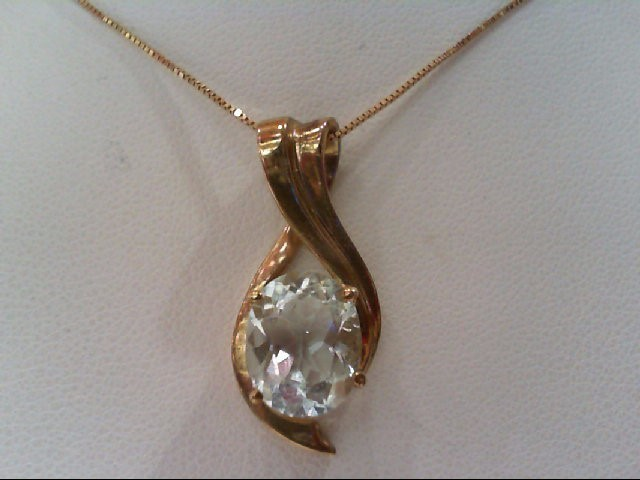 Aquamarine Gold-Stone Pendant 10K Yellow Gold 3.4g