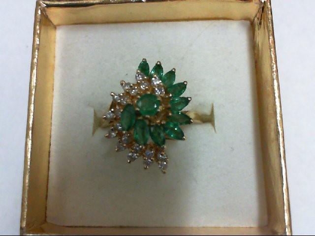 Emerald Lady's Stone & Diamond Ring 20 Diamonds 0.4 Carat T.W. 14K Yellow Gold 4