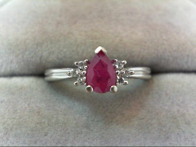 Ruby Lady's Stone & Diamond Ring 6 Diamonds .06 Carat T.W. 10K White Gold 2g
