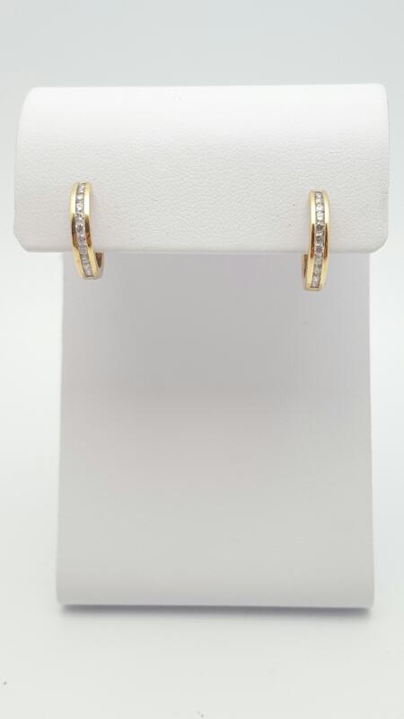 Gold-Diamond Earrings 22 Diamonds .25 Carat T.W. 14K Yellow Gold 2.4g