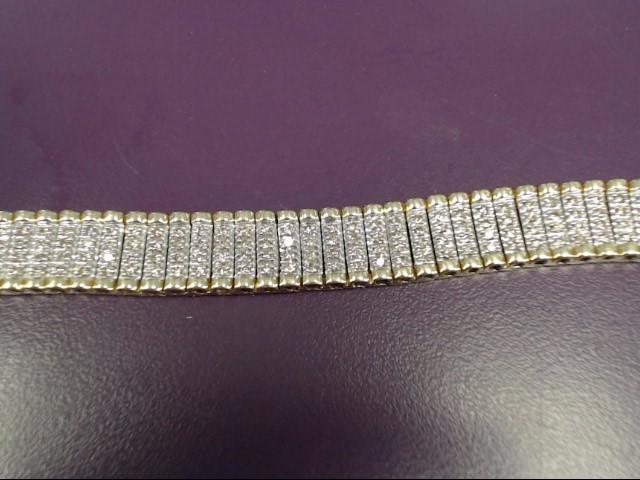 Gold-Diamond Bracelet 232 Diamonds 4.64 Carat T.W. 10K Yellow Gold 27.1g