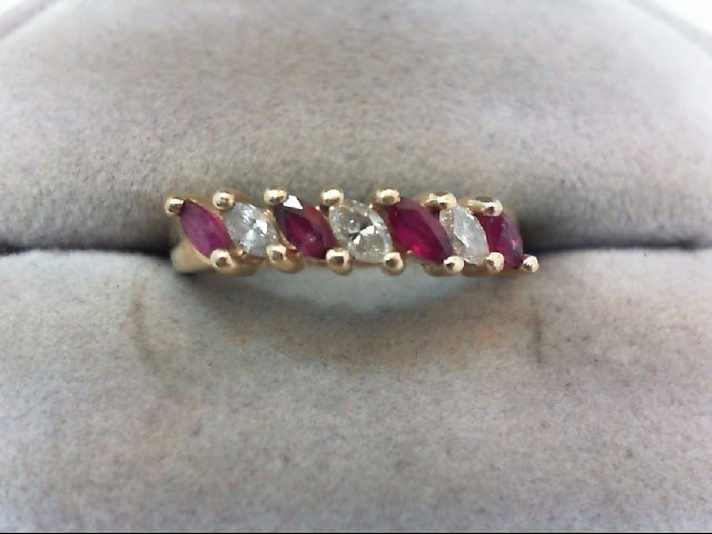 Ruby Lady's Stone & Diamond Ring 3 Diamonds .21 Carat T.W. 14K Yellow Gold 3.4g