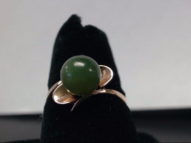 Jade Lady's Stone Ring 10K Yellow Gold 1.91g Size:6.1