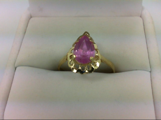Synthetic Pink Stone Lady's Stone Ring 14K Yellow Gold 2g
