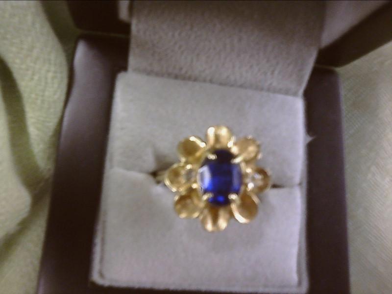 Blue Stone Lady's Stone & Diamond Ring 2 Diamonds .06 Carat TCW SIZE 10.75