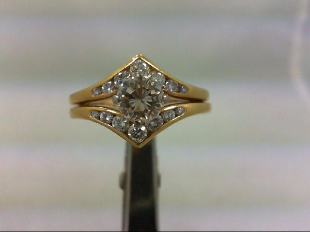 Lady's Diamond Wedding Set 15 Diamonds 1.00 Carat T.W. 18K Yellow Gold 5.8g