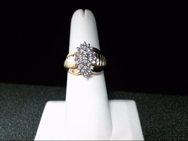 Lady's Diamond Cluster Ring 30 Diamonds .57 Carat T.W. 10K Yellow Gold 5.8g