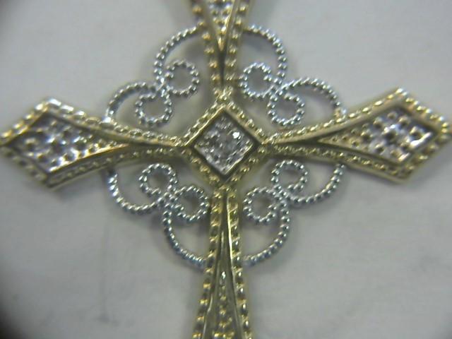 Gold-Multi-Diamond Pendant 5 Diamonds .05 Carat T.W. 10K Yellow Gold 0.9dwt
