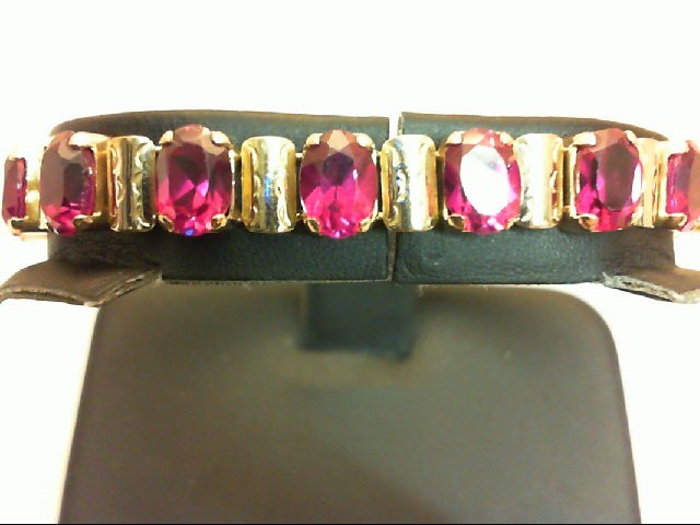 Red Stone Gold-Stone Bracelet 10K Yellow Gold 8g