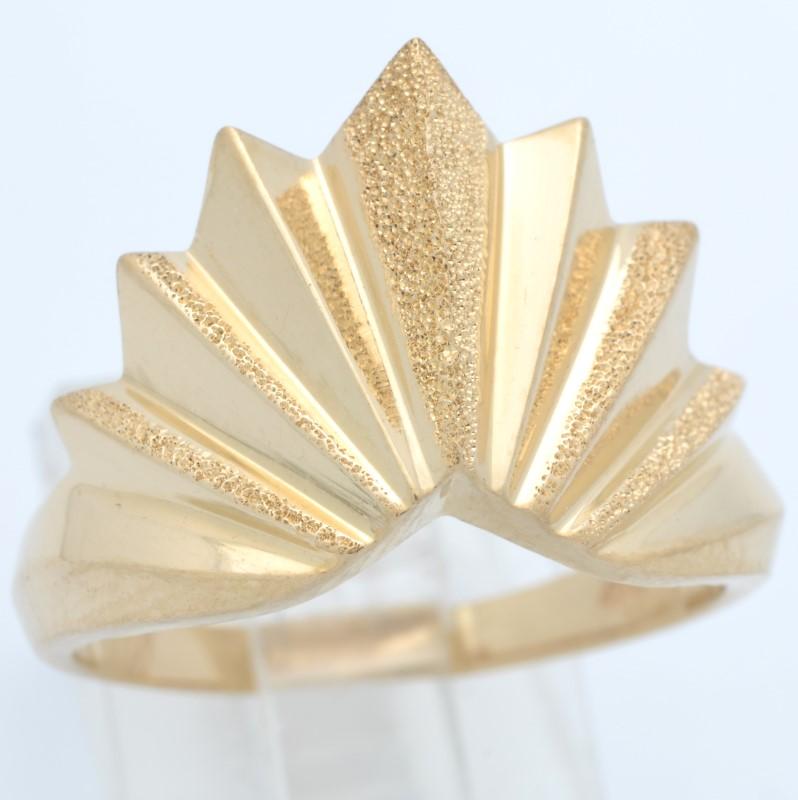 ESTATE SUN BURST RING SOLID 14K YELLOW GOLD STAR FINE BIG SIZE 9.75