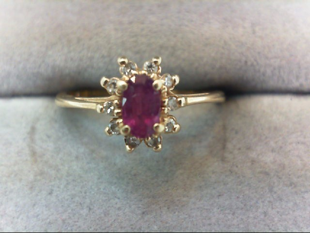 Ruby Lady's Stone & Diamond Ring 10 Diamonds .10 Carat T.W. 14K Yellow Gold