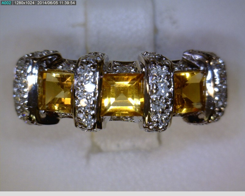 Citrine Lady's Stone & Diamond Ring 38 Diamonds .38 Carat T.W. 18K White Gold