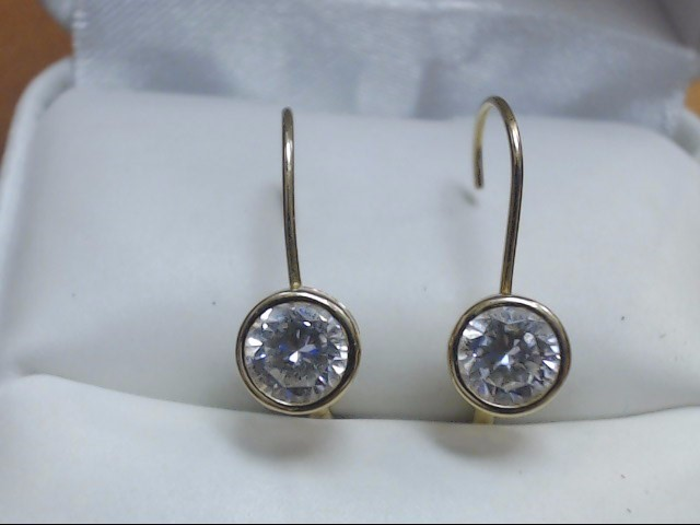 Synthetic Cubic Zirconia Gold-Stone Earrings 14K Yellow Gold 1.4g