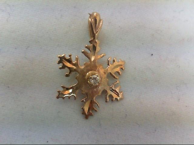 Gold-Diamond Solitaire Pendant .02 CT. 14K Yellow Gold 0.8g