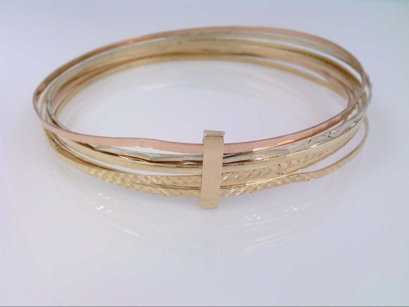 VINTAGE REAL SOLID 14K GOLD 7 BANGLE BRACELET SET TRI COLOR 17g