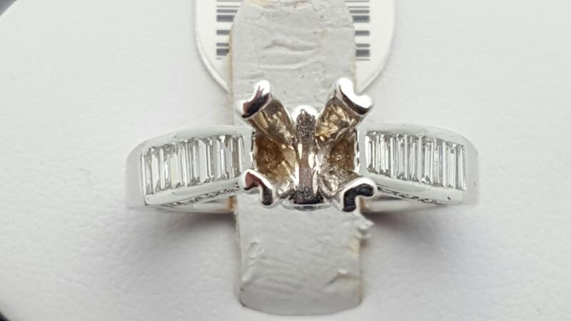 Lady's Diamond Engagement Ring 34 Diamonds .66 Carat T.W. 18K White Gold 5.9g