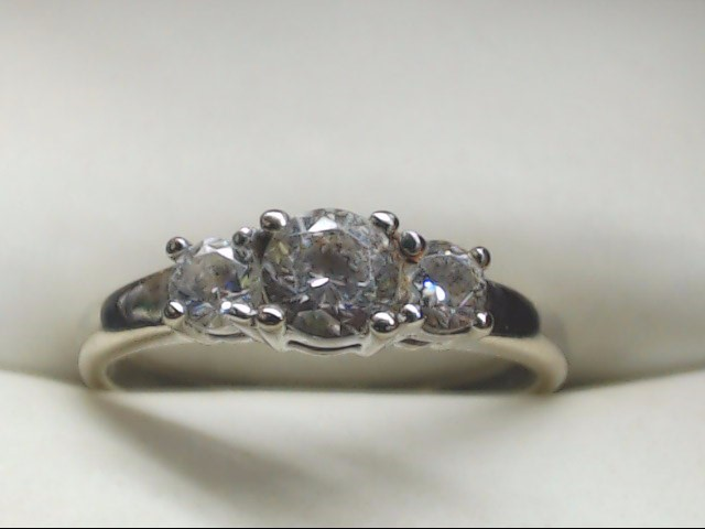 Synthetic Cubic Zirconia Lady's Stone Ring 10K White Gold 1.6g Size:5