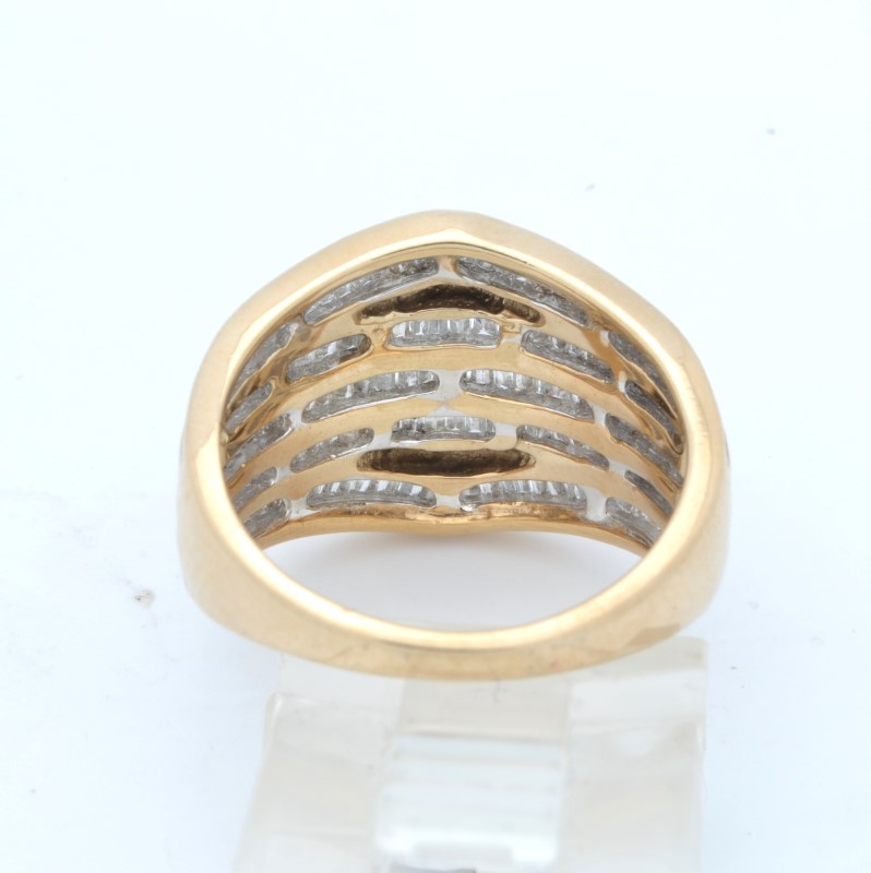 ESTATE DIAMOND RING BAND SOLID 10K GOLD BAUGETTE CLUSTER SIZE 6