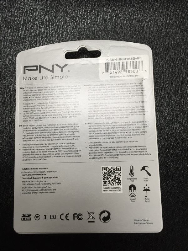 PNY 16GB 65MB/S SDHD MEMORY CARD