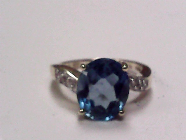 Synthetic Blue Topaz Lady's Stone Ring 14K Yellow Gold 2.3dwt