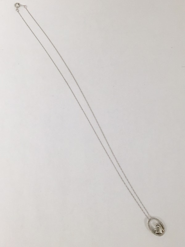 "20"" Mpther & Child Diamond Necklace 50 Dia .50 Carat T.W. 10K White Gold 1.2dwt"
