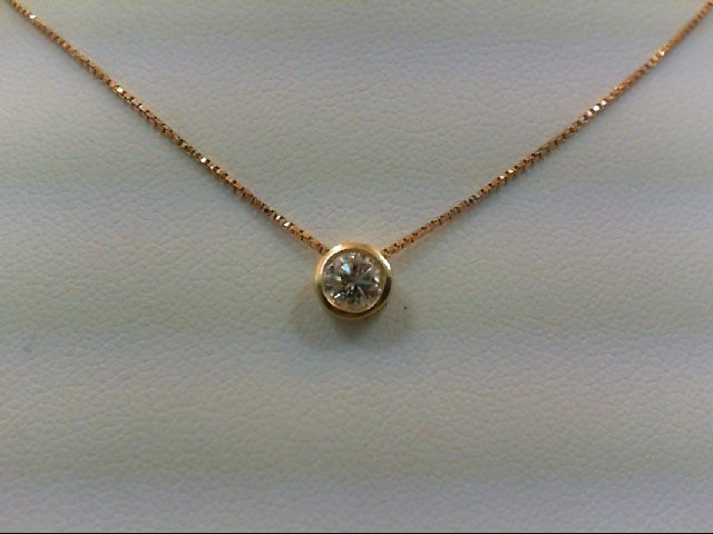 Gold-Diamond Solitaire Pendant 0.33 CT. 14K Yellow Gold 1.8g